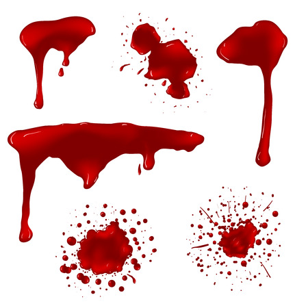 Realistic blood splatters vector set. Splash liquid, stain ink, spot and blot illustration Vettoriali