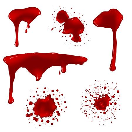 Realistyczne krwi splatters zestaw wektorowych. Splash ciecz, atrament plama, plama spot i ilustracji