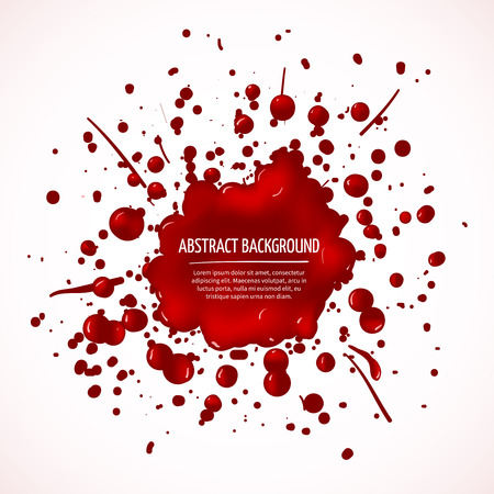 blots: Red blood splash abstract background. Drop liquid, stain ink, spot and blot, vector illustration