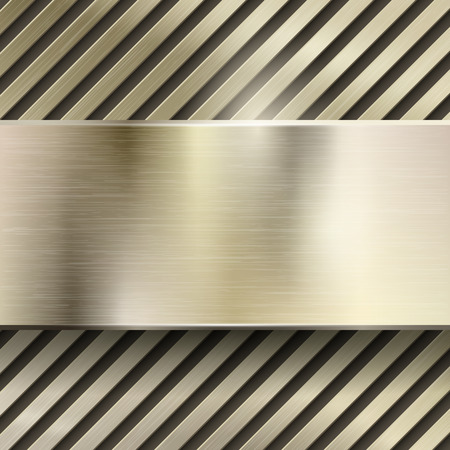 brushed steel: Abstract metal vector background. Metallic steel or iron pattern glossy, polished panel, grid or striped, brushed gold illustration