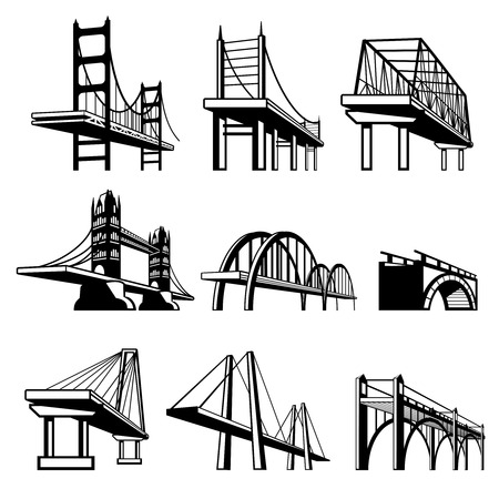 infrastructure: Bridges in perspective vector icons set. Architecture construction, urban road structure engineering object illustration