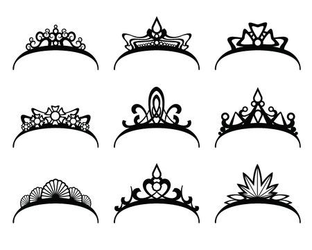 principe: Diademi di vettore impostate. Corona reale per la regina o principessa, simbolo regalità illustrazione