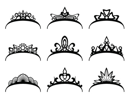 Vector tiaras set. Crown royal for queen or princess, symbol royalty illustration