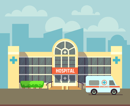 modern house exterior: Vector city hospital building in flat design style. Clinic architecture, urban hospital illustration