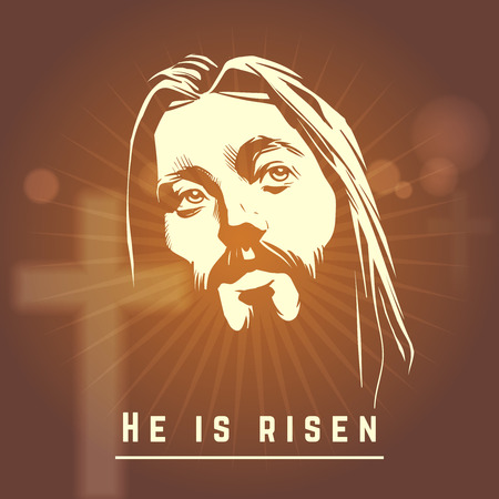 risen christ: Face of Jesus with He is risen text. Easter christian. Religion character face, vector illustration Illustration