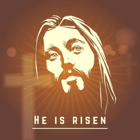 simbolos religiosos: Rostro de Jesús con Resucitó texto. Cristiano Pascua. cara carácter religión, ilustración vectorial