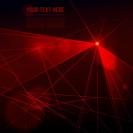Vector red laser light on dark background. Illustration beam energy ray Reklamní fotografie - 49781840
