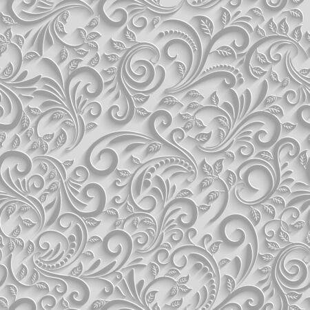 seamless floral: Paper 3d floral seamless pattern, vector paper background