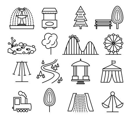 infancia: Parque del paisaje y de la línea de diversiones iconos conjunto. Carnaval y parque infantil, circo y carrusel, juego infantil, ilustración vectorial