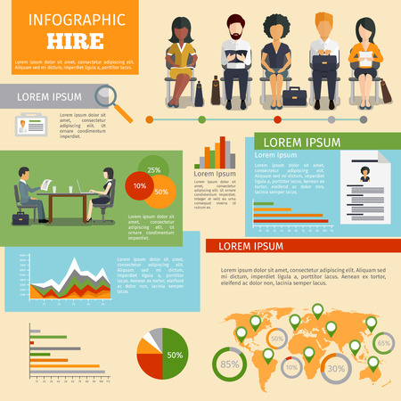 hiring: Human resources personnel recruitment infographics. Job work, interview vector illustration Illustration