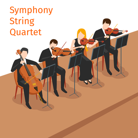 quartet: Symphonic orchestra string quartet background concept.  Music instrument, violin play, vector illustration