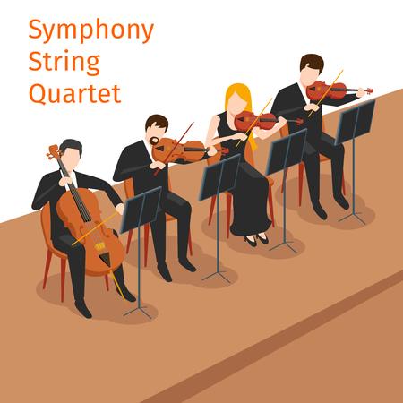 Symphonic orchestre à cordes quatuor fond concept. instrument de musique, jeu de violon, illustration vectorielle