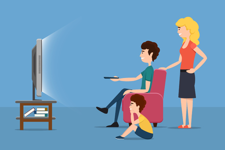 flat screen tv: Family watching TV. Woman man child and screen. Vector flat illustration