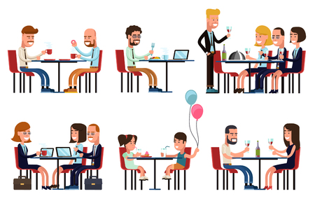 friends eating: People eating and talking in restaurant or coffee shop. Flat style icons set. Food and drink, sitting businessman, business gossip, children meeting, vector illustration