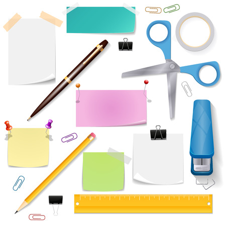 office tool: Office supplies set. Scissors paper and stationery tool, pencil and pen, vector illustration
