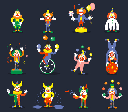 performers: Clown vector characters set. Smile or cry, juggle performer, show carnival, comedian and joker illustration Illustration