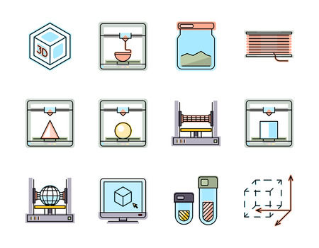 Technology of 3D printing line icons set. Printer manufacturing, plastic material, vector illustration