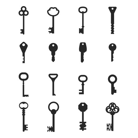 security lock: Key vector icons set for lock or door, security and protection illustration Illustration