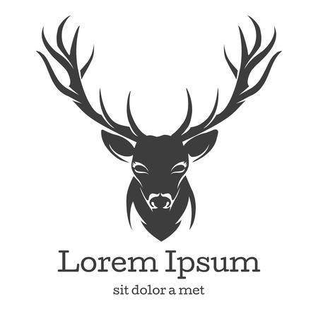 Herten hoofd embleem. Dier met hoorn, natuur wild, rendier zoogdier, vector illustratie