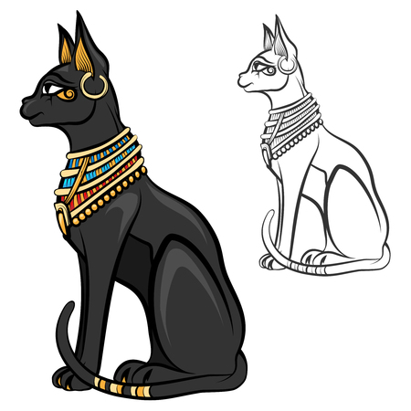 Egypt cat goddess bastet. Egyptian god, ancient figurine sitting, black statue feline, souvenir statuette, vector illustration Illustration