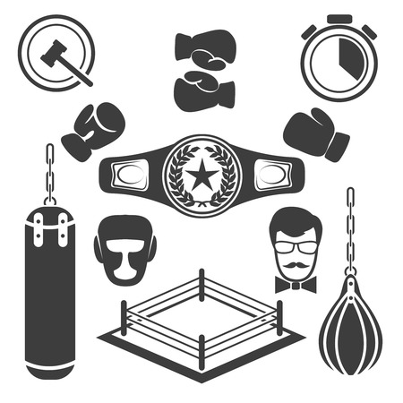 glove: Boxing icons vector set. Glove equipment, training and ring illustration Illustration