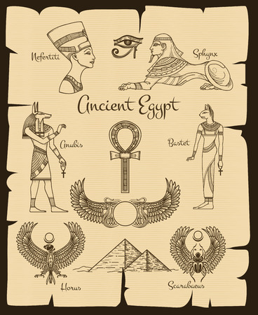 egypt anubis: Ancient Egypt symbols. Sphinx and nefertiti, horus and scarabaeus, traditional religion, vector illustration