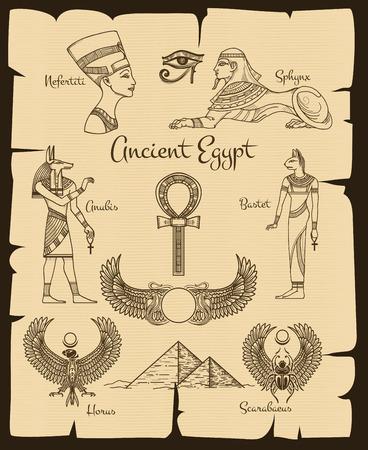 símbolos antiguo Egipto. Esfinge y Nefertiti, Horus y escarabajo, la religión tradicional, ilustración vectorial
