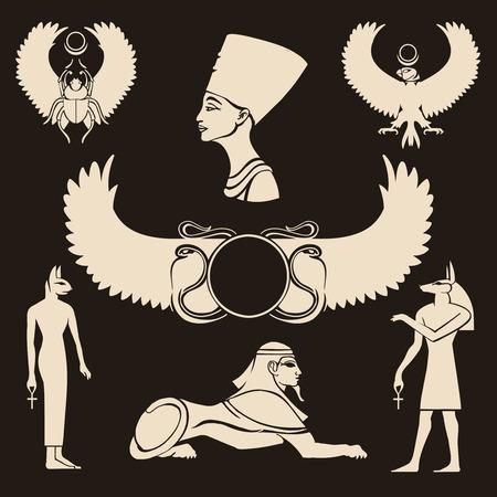Icone antiche Egitto impostate. Horus e Nefertiti, sfinge e anubis, scarabeo e segno egiziano, illustrazione vettoriale