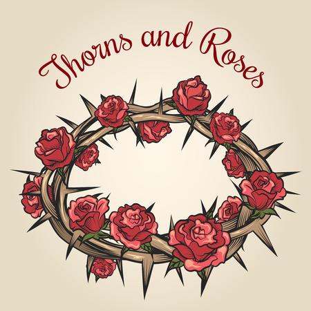 flower thorns: Thorns and roses engraving emblem. Floral flower frame, plant nature, vector illustration Illustration
