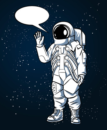 Astronaut in space suit in hand drawn style in outer space and speech bubbles. Spaceman and science, helmet vector illustration