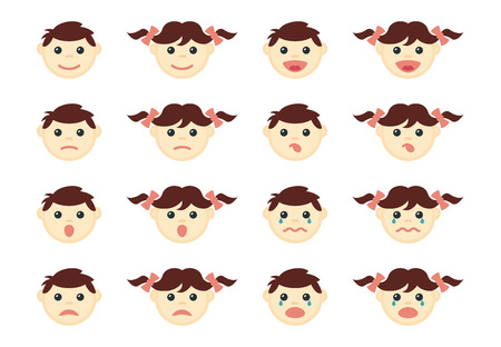 male face: Children head icons set. People character boy and girl person, vector illustration