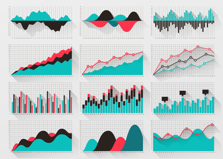 visualization: Charts elements for business infographics. Presentation graph information, data visualization statistic, vector illustration