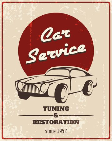 restoration: Car service retro poster. Vintage vehicle, repair automotive,  tuning and restoration. Vector illustration