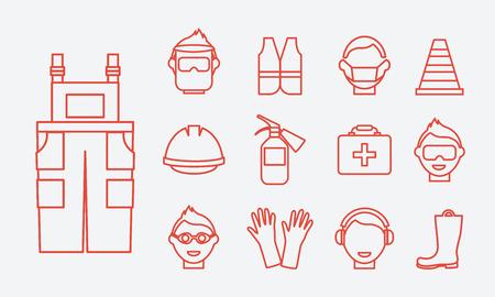 zapatos de seguridad: Seguridad en el trabajo. Iconos de la línea de seguridad del trabajo. Equipo y botas de protección, auriculares de protección, chaleco y batas, gafas y ropa de trabajo, extintor y un casco profesional, ilustración vectorial