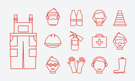 Safety at work. Job safety line icons set. Protective Equipment and boots, earphones protective, vest and coveralls, glasses, and workwear, extinguisher and professional helmet, vector illustration