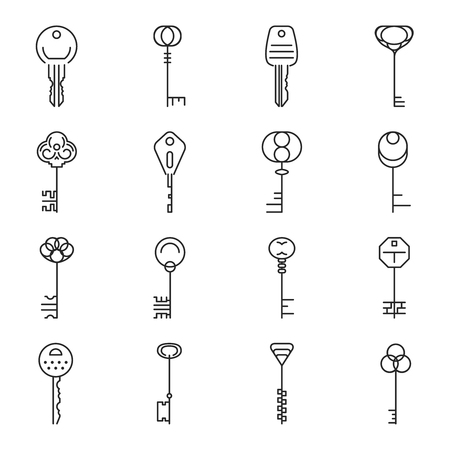 keyring: Linear key icons. Secret and security, protection private, vector illustration