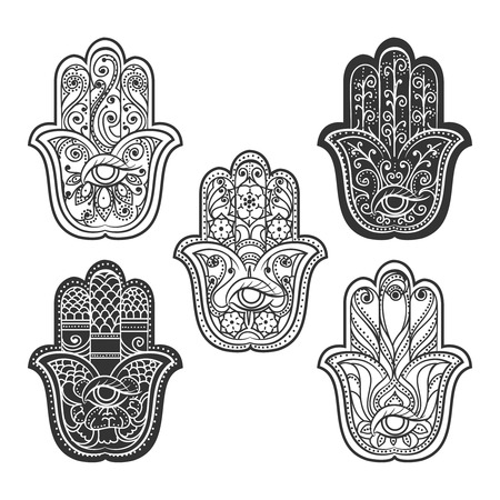 spiritual energy: Indian hamsa hand with eye. Spiritual ethnic ornament, vector illustration