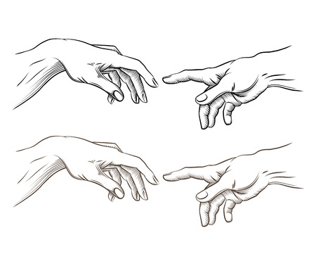 Adam hand and hand of God like creation. Hope and help, assistance and support religion, vector illustration Çizim