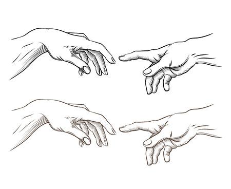 mano de dios: La mano de Adam y de la mano de Dios como creación. La esperanza y ayuda, asistencia y apoyo religión, ilustración vectorial