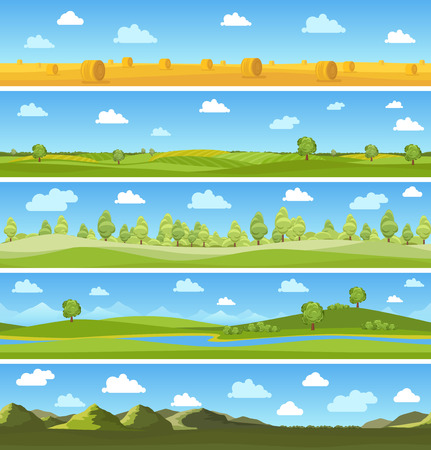 Country landscapes set. Outdoor sky tree, summer meadow, cloud and hill. Vector illustration Vettoriali