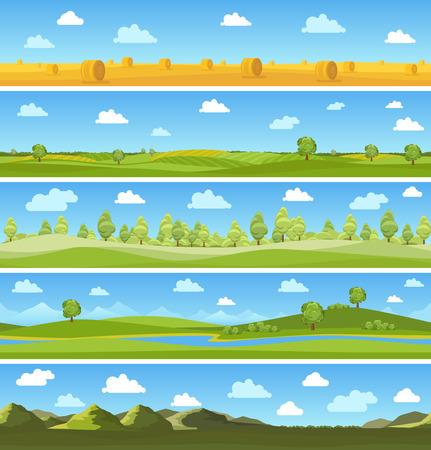 paysages de pays définis. arbre extérieur ciel, prairie d'été, les nuages ??et la colline. Vector illustration
