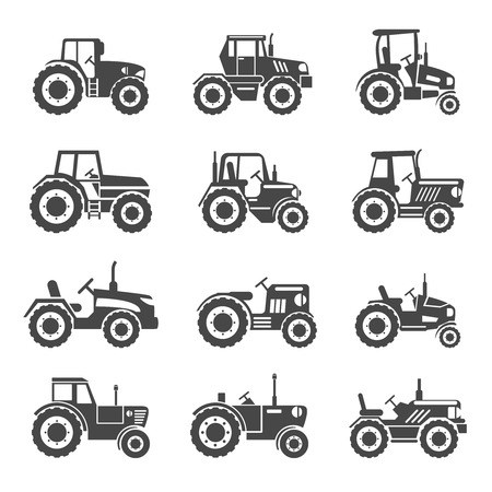 agrimotor: Tractor icons set. Combine for agriculture, transportation machine, vector illustration