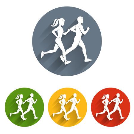 Running silhouettes icon. Sport runner, athlete run, marathon race, sprint symbol, vector illustration