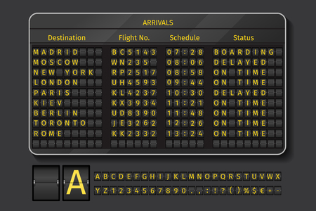design layout: Airport or railway scoreboard. Display airport, info with schedule time, vector illustration