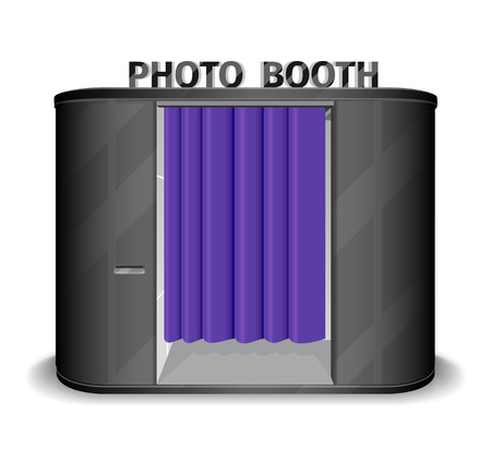 automat: Black photo booth vending machine. Photobooth cabin, quick shoot, equipment service, kiosk automatic. Vector illustration