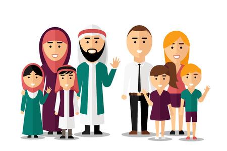 Arabische en Europese gelukkige gezinnen. Set van mensen karakters. Vriendschap internationale mensenrechten, etnische natie groep, vector illustratie