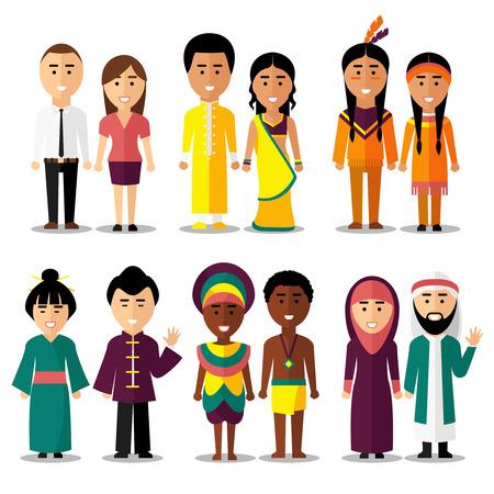 hindues: caracteres nacionales parejas en estilo de dibujos animados. Indios y árabes, hindúes y japoneses, americanos o europeos. ilustración vectorial