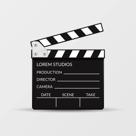 film industry: Realistic vector movie clapperboard for cinema, entertainment cinematography illustration