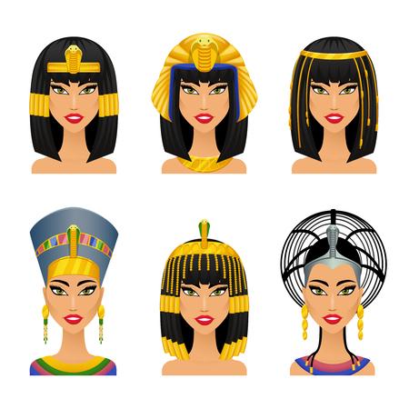 클레오 파트라 이집트의 여왕. 여자 고대, 역사, 얼굴, 세로 네페르티티, 벡터 일러스트 레이 션