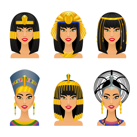 Cleopatra Egyptian Queen. Woman ancient, history and face,  portrait nefertiti, vector illustration